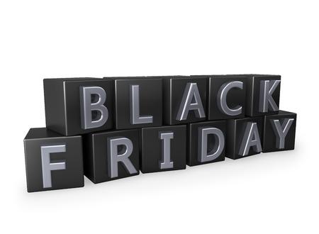 letras cromadas: cubos de Viernes Negro con letras cromadas aisladas sobre fondo blanco. Foto de archivo