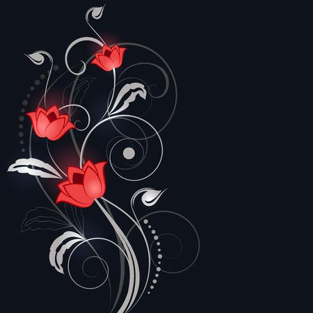 Sfondo nero astratto con ornamento fiore bianco e rosso.