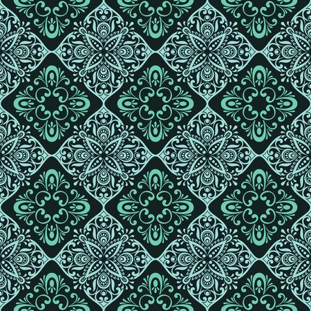 seamless tile: Seamless vintage green floral wallpaper pattern. Illustration