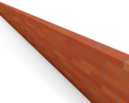 red brick: Red brick wall isolated on white background.