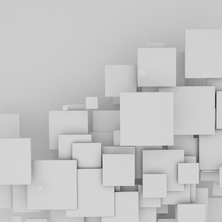 floating: 3D white floating squares background.