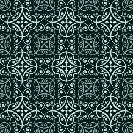white tile: Abstract dark green seamless oriental pattern.