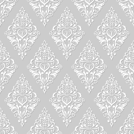 シームレスな白とグレー花柄ヴィンテージ壁紙パターン。