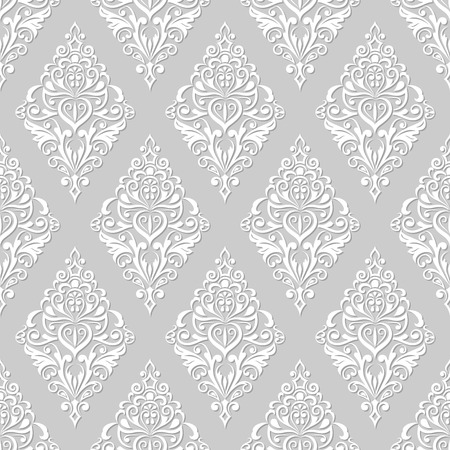 Seamless white and grey floral vintage wallpaper pattern.