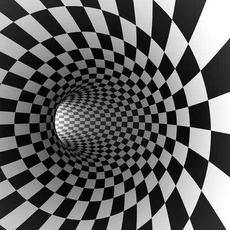 light at the end of the tunnel: Abstract checkered round tunnel 3D render background.