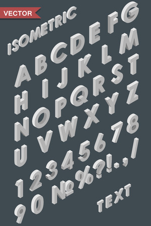 alternate: Alphabet of white isometric letters, figures and signs template. Use for isometric texts in infographic of flat 3D designs. To alternate just use a reflect tool.