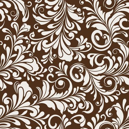 floral motif de papier peint vecteur blanc et brun Seamless.