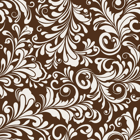 Seamless white and brown floral vector wallpaper pattern.