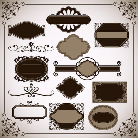 curly: Abstract vintage frame vector templates with copy space.