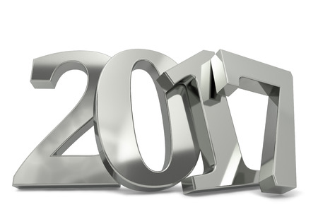 leaned: New 2017 year silver figures leaned to the wall with shadow isolated on white background. 3D rendering of 2017 number.