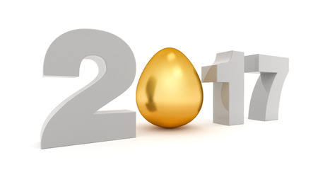 turns of the year: New 2017 year 3D figures with the golden egg instead O. 3D rendering.