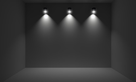 clean floor: Small room illuminated with three spotlights. 3D rendering of dark interior with wall lights.