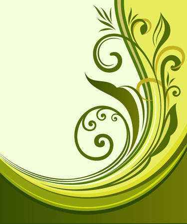 wave vector: Abstract floral green wave vector background with copy space. Illustration