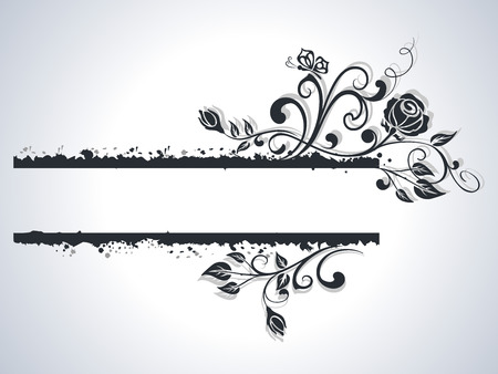 Black and white rose frame vector background. Illustration