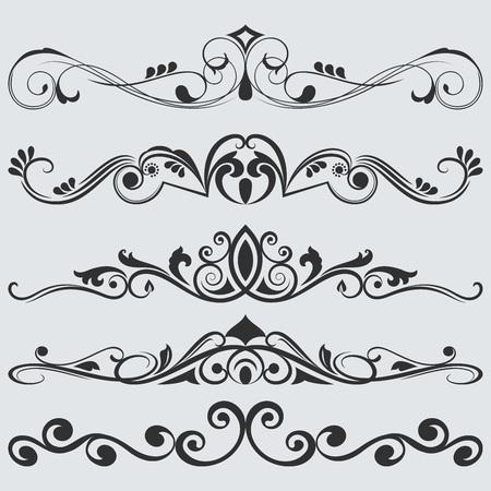 separators: Vintage floral dividers vector set. Retro book separators.