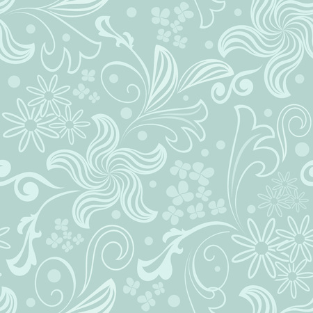 bluish: Seamless bluish green floral vector background.