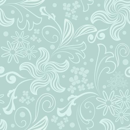 Seamless bluish green floral vector background.