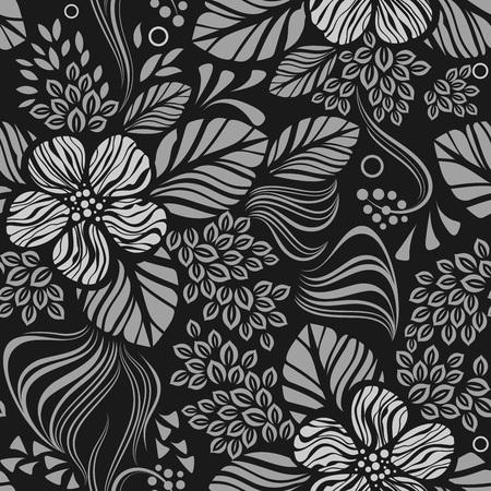 黒と白のシームレスな花の壁紙パターン ベクトル テンプレート。シームレスな包装紙、繊維や室内装飾の印刷。