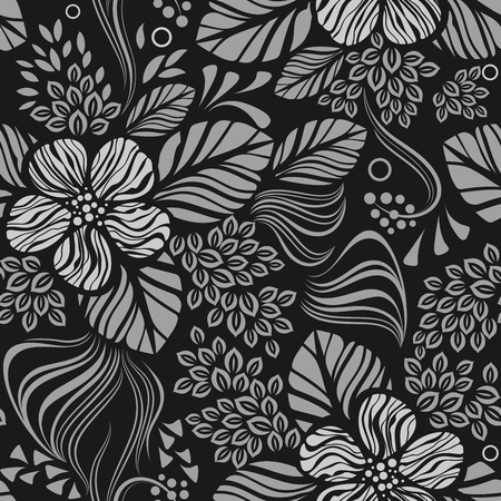 Black and white seamless floral wallpaper pattern vector template. Seamless wrapping paper, textile or upholstery print. Illustration