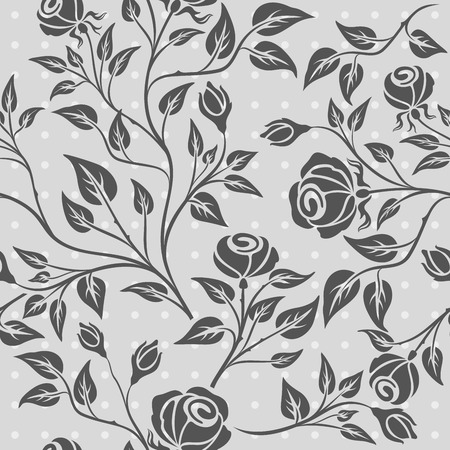 Seamless grey and white rose vector pattern. Seamless wrapping paper, textile or upholstery flower print.