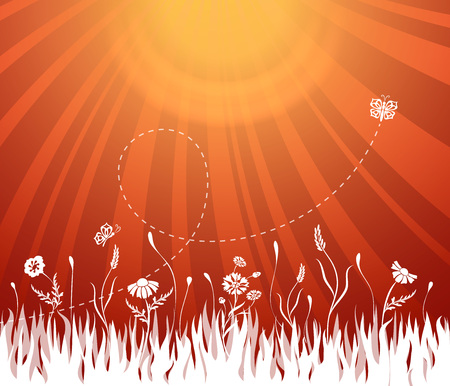 Abstract summer background with grass and butterfly shapes vector illustration.