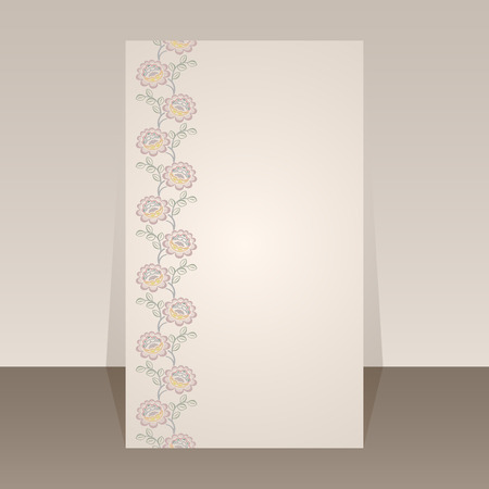 vertical divider: Flower border vector page template with copy space. Illustration