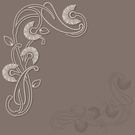corner design: Abstract floral beige vector background with copy space.