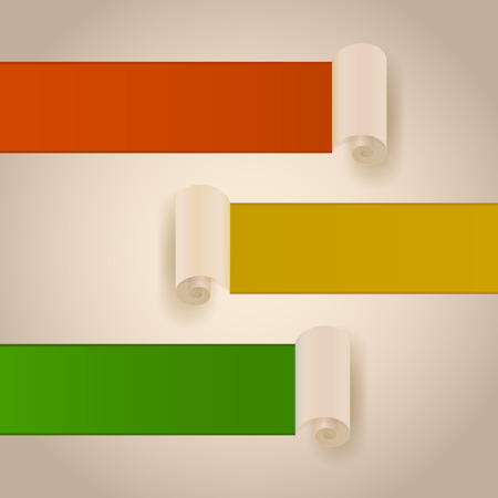 paper rolls: Cut paper rolls vector banners with color copy space.