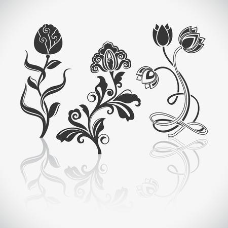 Flower vintage vector design elements isolated on white background. Illustration