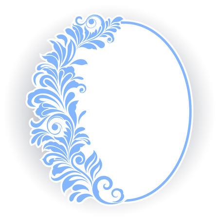 ovalo: Marco oval de la vendimia con el ornamento floral azul. Vectores