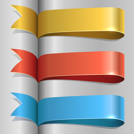 Color ribbon labels vector template.