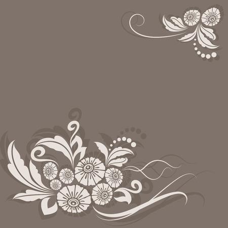 esquineros de flores: Esquina de la flor tarjeta de color beige vendimia la decoraci�n del vector. Vectores
