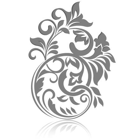 Vintage floral design element isolé sur fond blanc.