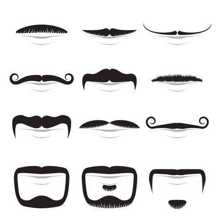 Moustache shapes vector set isolated on white background. Illustration