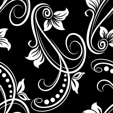 Seamless black and white flower vector pattern.