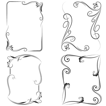 Black and white floral vector frame templates.  イラスト・ベクター素材