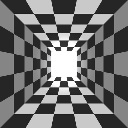 Abstract square checkered tunnel vector background.