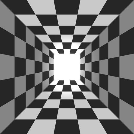 Abstracte vierkant geruite tunnel vector achtergrond.