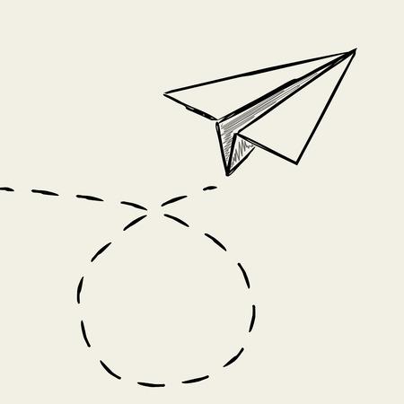 破線のトレース行を描画紙飛行機。  イラスト・ベクター素材