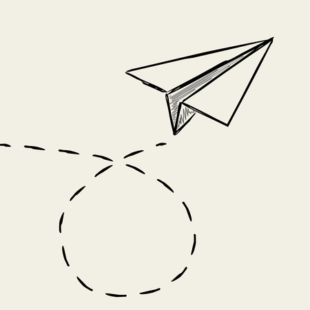 airplane: Paper plane drawing with dashed trace line.