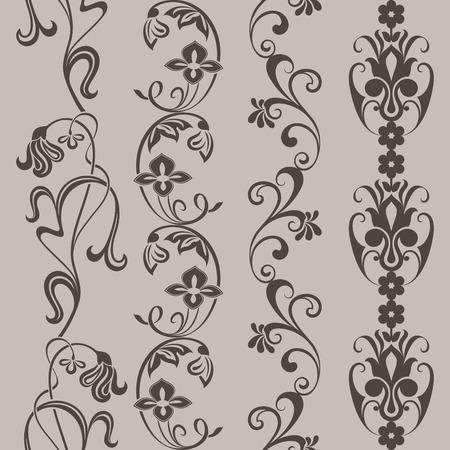 vintage border: Seamless vintage floral vertical border vector ornaments.