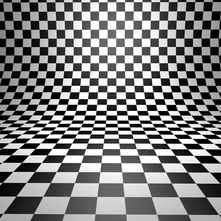 cuadros blanco y negro: fondo de cuadros 3D doblada abstracto. Foto de archivo