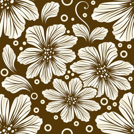 シームレスな茶色のコスモスの花のベクトルの背景.