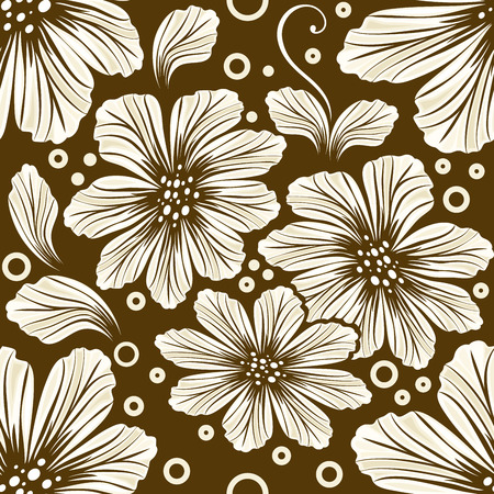 Seamless brown cosmos flower vector background. Иллюстрация