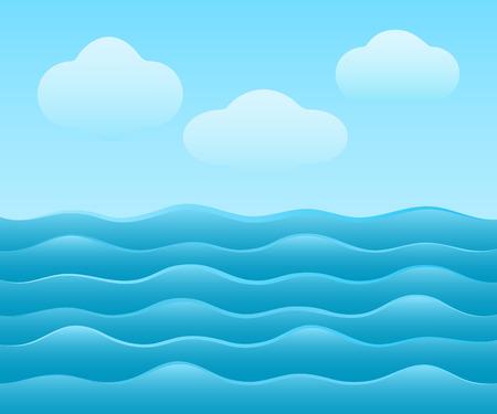 fiambres: Fondo abstracto del vector sencilla mar azul con nubes.