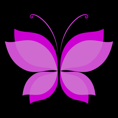 bend: Abstract pink butterfly shape on black background. Illustration