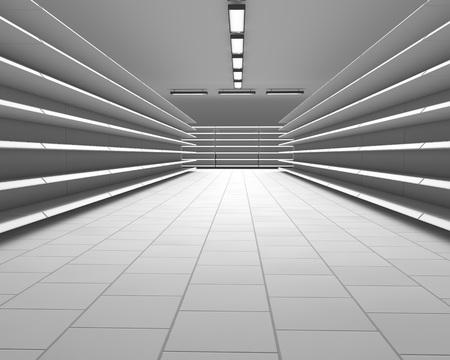 render: Empty white supermarket shelf rows 3D render.