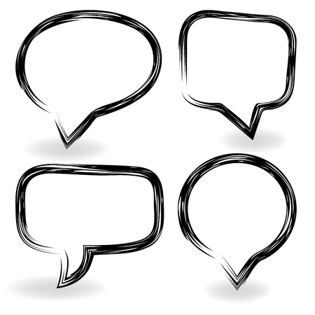 Simple black and white speech bubble frames with copy space. Illustration