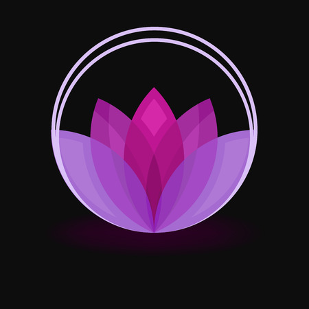 Abstract purple flower sign isolated on black background.