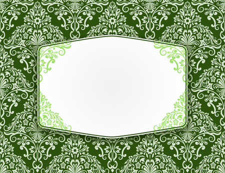 diamond shape: Blank white frame with seamless green floral pattern in the background.